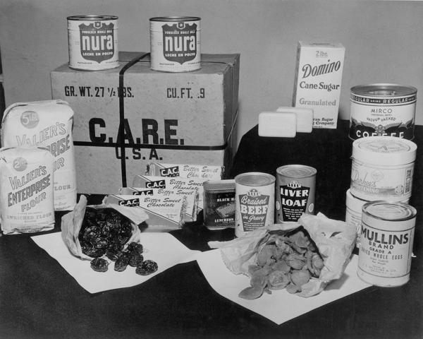 "A typical CARE package. ""My mother, I am so thankful, had a fantastic imagination for how to make things with limited ingredients,"" recalls Renate Senter, 77. Her family first received one of the parcels in 1946 while living in West Germany, after fleeing Poland."