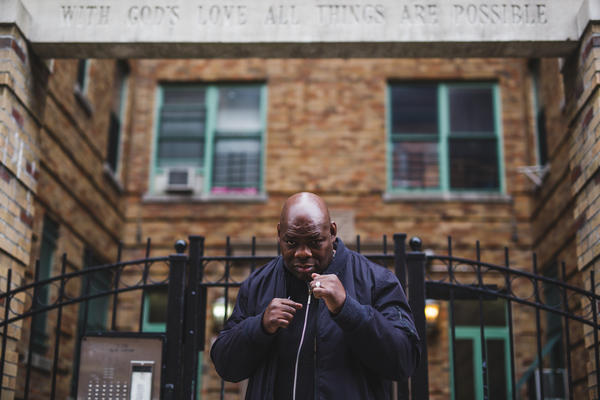 Former professional boxer, Iran Barkley, poses in front of his Bronx apartment complex. Barkley, a former WBC middleweight champion, became homeless after facing financial troubles in the later years of his life. He currently is a board member of Ring 10 Veterans Boxing Foundation of New York, an organization that works with boxers who are down on their luck.