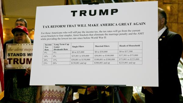 "A poster outlining Trump's tax plan, titled ""Tax Reform That Will Make America Great Again,"" hung behind him at a September news conference."