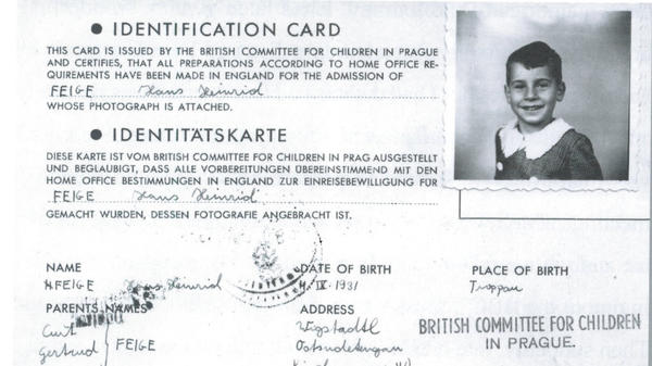 A copy of John Fieldsend's 1939 travel documents, arranged by Nicholas Winton. On these documents, Fieldsend is listed under his birth name, Hans Heini Feige.
