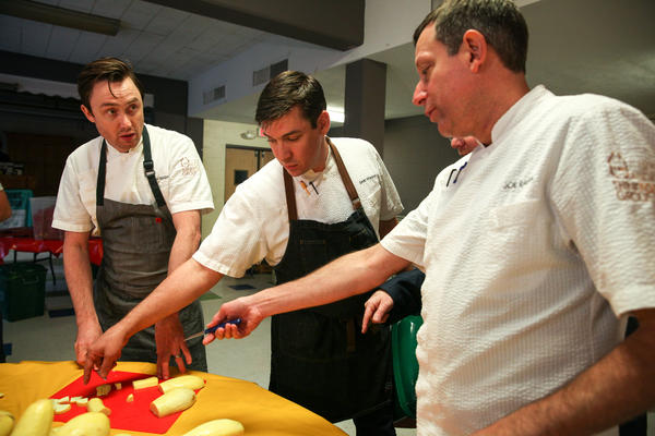 Chefs Josh Whigham, Sean Wheaton and Joe Raffa discuss the best way to chop squash.