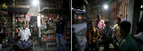 Before solar lighting, people in Rajat Jubilee stayed home after dark. There was nothing to do outside, and you might get bitten by a snake or attacked by a tiger. Now, when the sun goes down, the village comes to life. A store owner (left) is able to keep his shop open at night. A television (above) stays on for people to watch in the shop. Villagers (right) sit outside a restaurant.
