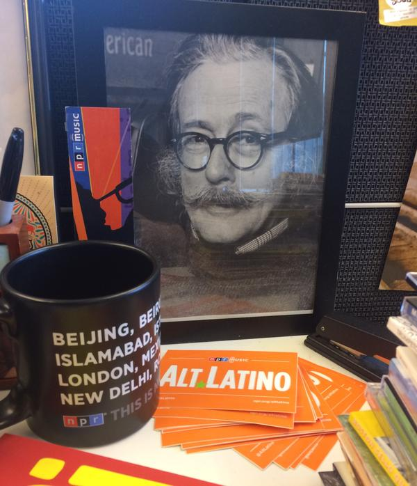 <em>Alt.Latino</em> host Felix Contreras keeps this photo of Ralph J. Gleason on his desk.
