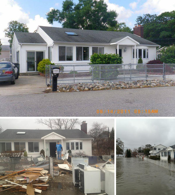 Top: Doug Quinn's home in 2011. Left: Damaged materials from inside Quinn's home in January 2013. Right: Water flooded Quinn's street the day after Superstorm Sandy.