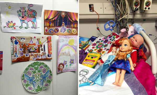 Toys and gifts for Ameera fill her hospital room. She has received care packages from around the U.S., including one from a kindergarten class in Texas.