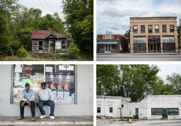 Structures in North, S.C., show signs of decay in the main section of town. A lifetime resident of North, Gerald D. Green (left), and Jeff Washington, who has lived in the town for 18 years, sit outside a gas station.