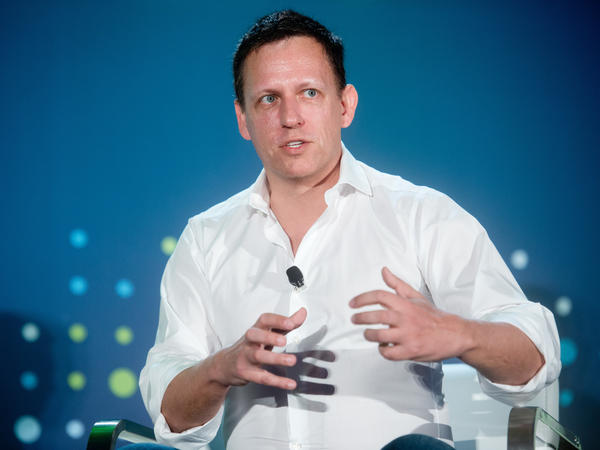 Peter Thiel, head of Clarium Capital Management and founding investor in PayPal and Facebook, speaks at a conference in San Francisco on April 12.