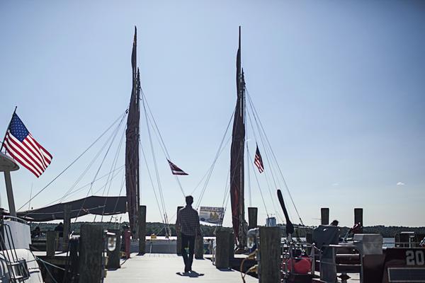 Hokule'a stops in Alexandria, Va., on the way up the Potomac River to Washington, D.C.