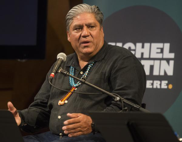 "'Roger Fragua of Jemez Pueblo, New Mexico, answers at the live performance of Michel Martin's Going There at Colorado State University Tuesday May 24, 2016. The show was titled, "" The Future of Water."" Fragua has dedicated his professional career to the advancement and development of American Indian communities.'"