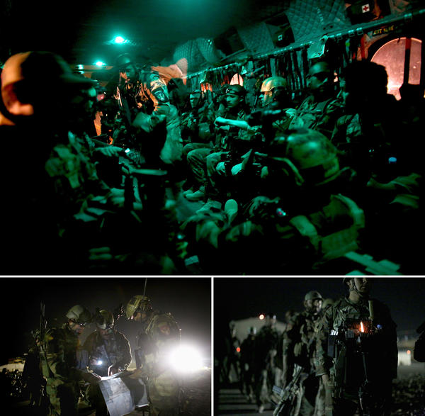 (Top) Afghan commandos on board an American Chinook helicopter flying to a Taliban-controlled village in the middle of the night. (Bottom) Commandos study a map of the village ahead of the sweep, before lining up on the tarmac to board American helicopters for the mission.