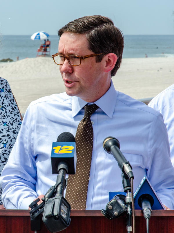 Roy Wright, FEMA's director of the National Flood Insurance Program, speaks at a news conference with state and local officials to encourage Superstorm Sandy survivors to register with the claims review process on Aug. 24, 2015, in Long Beach, N.Y.