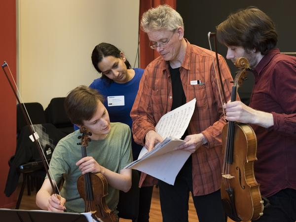 """Kronos Quartet led a workshop for young professional string quartets to explore new works commissioned as part of """"Fifty For The Future."""""""