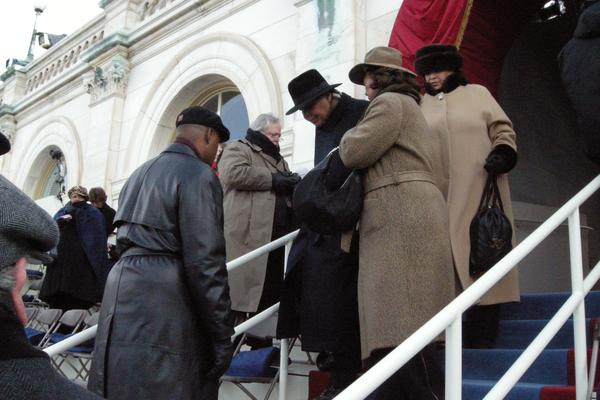 Muhammad Ali arrives at the West Front of the U.S. Capitol for the swearing-in of Barack Obama as president on Jan. 20, 2009.