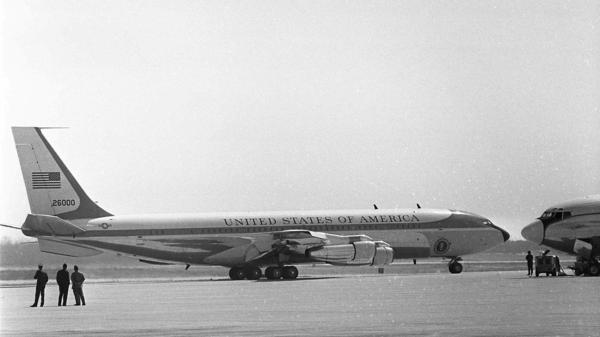 Special Air Mission 26000, which was known as Air Force One when it flew presidents from John F. Kennedy to Bill Clinton, is shown at Andrews Air Force Base in 1966. The jet that carried President Kennedy's body from Dallas and President Nixon to China had its final flight in 1998.