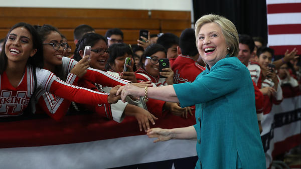 Hillary Clinton campaigns in Oxnard, Calif., on Saturday.
