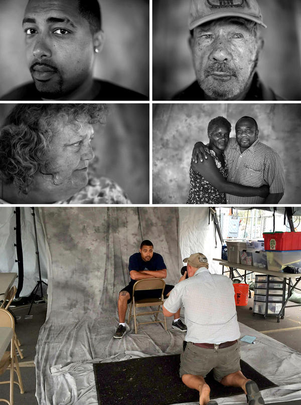 """U.S. military veterans Marcus Bennett (from top, left to right), Henry Addington, Melinda Baca and Fred E. Parks Jr. and his wife, Jessica. (Bottom) David Gilkey photographs Marcus Bennett at a pop-up studio. <em>From the story """"<a href=""""http://apps.npr.org/lookatthis/posts/veterans/"""" target=""""_blank"""">What Do Homeless Vets Look Like</a>,"""" 2014.</em>"""