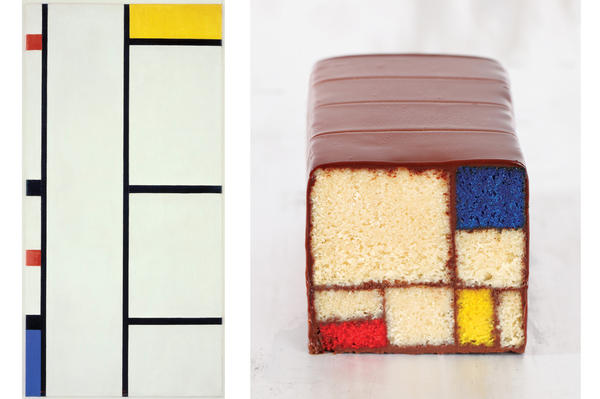 Left: One of Piet Mondrian's grid-like color block compositions. Right: Caitlin Freeman's cake homage.