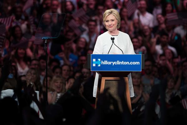 Hillary Clinton speaks during a primary night rally in Brooklyn, N.Y. Clinton is the first woman in U.S. history to secure the presidential nomination of a major political party.