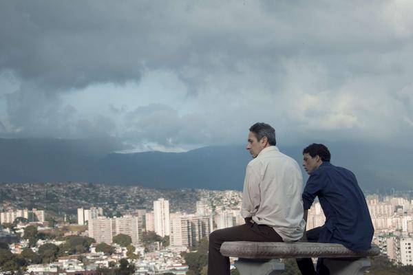 Alfredo Castro (left) and Luis Silva star in <em>From Afar,</em> a thriller from Caracas that blends social and sexual politics.