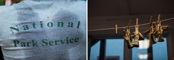 (Left) The sweaty National Park Service shirt of Kaleb Lique Naitove is seen after hiking deep into the woods to treat a hemlock tree. (Right) Gloves hang in the veg crew's headquarters at Great Smoky Mountains National Park.