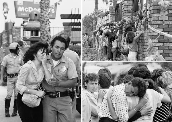(Left) A victim is led away by police as SWAT officers assist the wounded at a McDonald's restaurant on July 18, 1984, in San Ysidro, Calif. The gunman killed 21 people. (Top) People peer through the fence around the restaurant. (Bottom) Mourners console each other in the parking lot of Our Lady of Mount Carmel Catholic Church in San Ysidro following funeral services for several victims.
