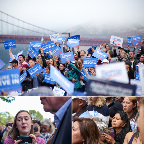 At each stop on Sanders' scheduled tour of the San Francisco Bay Area, he was greeted with excitement, intense interest and rousing support from crowds.