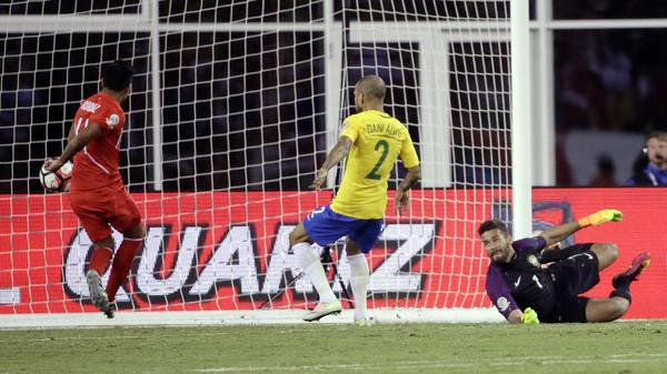 Peru's Raul Ruidiaz (left) scored on Brazil to give his team a 1-0 edge just before the end of regulation time in their Copa America game Sunday night. Brazil is now eliminated from the group stage for the first time since 1987.