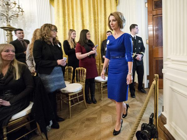 Shannon Watts, founder of Moms Demand Action for Gun Sense in America, arrives in the East Room of the White House on Jan. 5 to hear President Obama speak about steps his administration is taking to reduce gun violence.