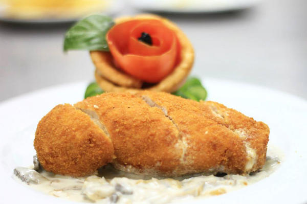 Level Up offers international dishes such as chicken cordon bleu (pictured here) and Caesar salad.