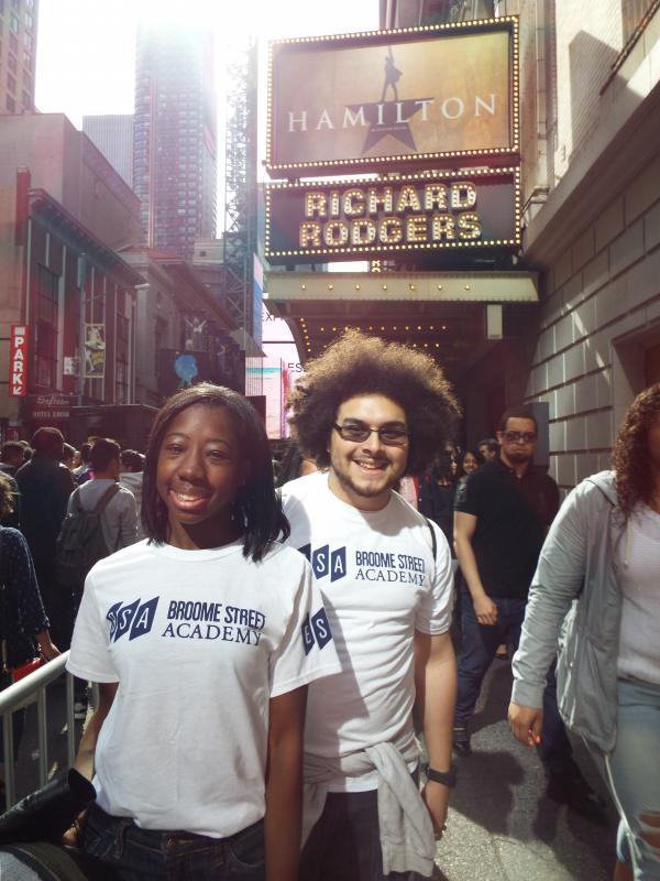 "Osariemen ""Tootie"" Uwaifo and Chris Zaragoza of Broome Street Academy pose outside the Richard Rodgers Theatre."