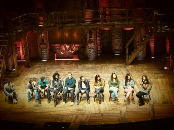 Members of the cast of <em>Hamilton</em> participate in a Q&A session with students.