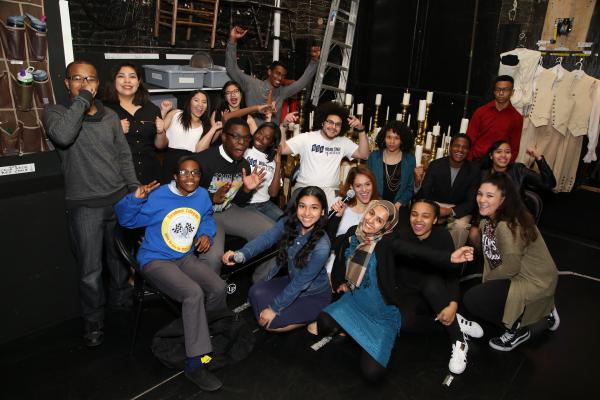 Student performers gather backstage at the Richard Rodgers Theatre on May 11, 2016. They'll perform their own renditions of historical characters before seeing a special matinee performance of <em>Hamilton</em>.