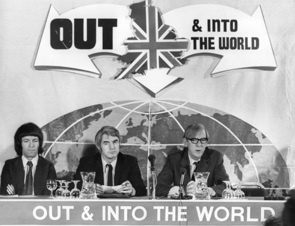 Great Britain has always been ambivalent about being tied to Europe. The U.K. joined the European Economic Community in 1973, and two years later, it held a referendum on whether it should leave. Here, members of the Labour Party hold a 1975 news conference to explain why they favor pulling out of the European body. However, U.K. citizens voted 2 to 1 to remain in the EEC at that time.