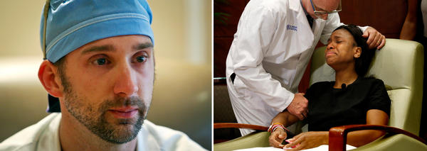 (Left) Dr. Joshua Corsa, senior surgical resident at the Orlando Regional Medical Center, still wears his bloodstained shoes from early Sunday morning, when the first victims from the Pulse nightclub shooting arrived. (Right) Dr. Neil Finkler consoles gunshot victim Patience Carter, 20, of Philadelphia.