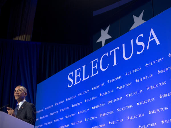 """President Obama speaks at the SelectUSA Investment Summit in Washington, D.C., on Monday. Concerns about a possible """"Brexit"""" were floating in the air as British investors met with state economic teams at the two-day summit."""
