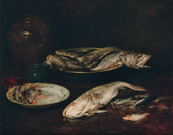 Chase used to paint fish during the classes he taught at the New York School of Art. He would buy fish at the market, paint them quickly, and return them before they went bad.