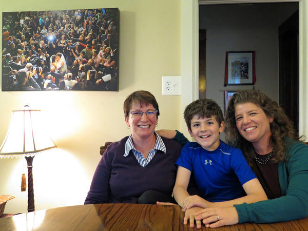 Francine Robin Simon (left) and Anna Simon with their son, Jeremy, in their home in Denver. Anna and Francine were one of the first same-sex couples in Colorado to obtain a civil union.