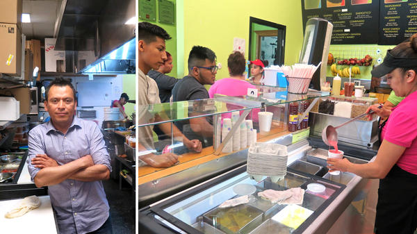 Jose Luis Valdez (left) at his restaurant Paleterias Tropicana in Kansas City, Kan. Valdez is disappointed that Obama did not make the path to citizenship easier during his presidency. (Right) Paleterias Tropicana, an ice cream shop that also serves traditional Mexican lunch and dinner items.