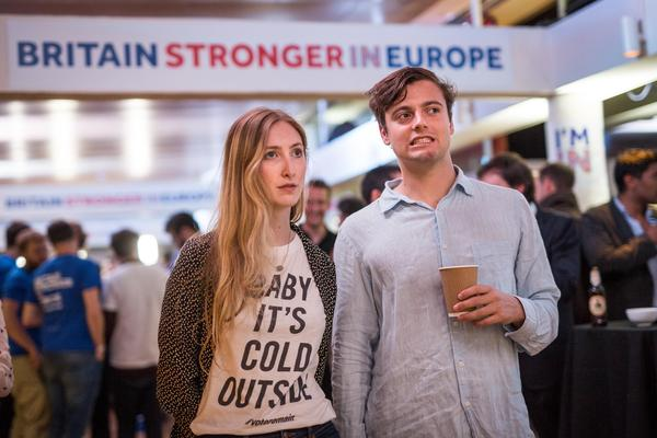 "Supporters of the ""Stronger In""Campaign react as results of the EU referendum are announced at a results party at the Royal Festival Hall in London early Friday morning."