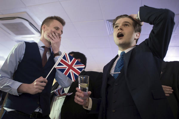 Supporters of leaving the EU celebrate at a party hosted by Leave.EU in central London as they watch results come in from around the country after Thursday's EU referendum.