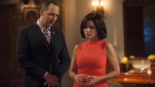 Fail to the Chief: Tony Hale and Julia Louis-Dreyfus in the fifth season finale of HBO's <em>Veep</em>.