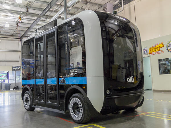 Olli is an autonomous electric shuttle bus by Local Motors that is test-running at National Harbor, south of Washington, D.C.