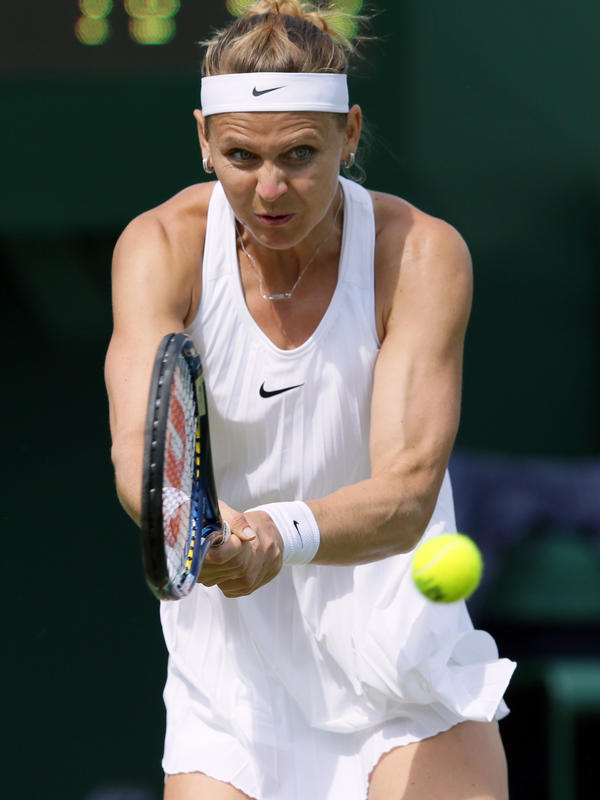 Lucie Safarova of the Czech Republic wore the pleated tennis dress without incident in the first round of Wimbledon.