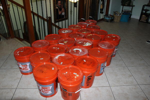 Police found these 24 buckets inside a secret room in a Miami house.