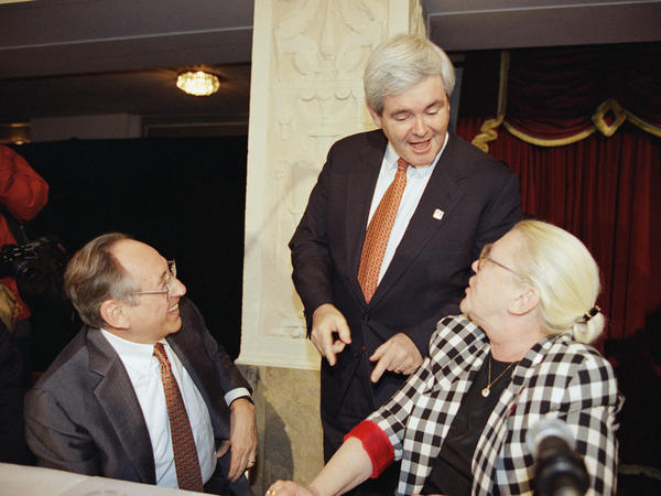House Speaker Newt Gingrich talks with the Tofflers in 1994 in Washington, D.C.