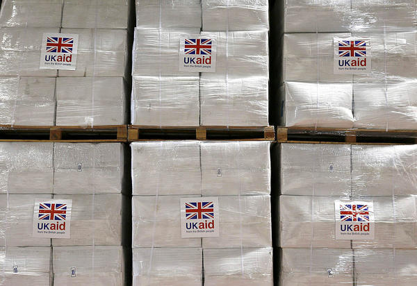 Boxes of aid items are stored at a disaster response center at Cotswold Airport in the United Kingdom.