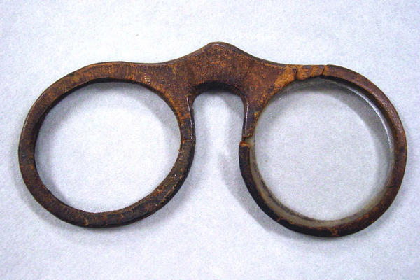 Spectacles with leather frame, circa 1700.