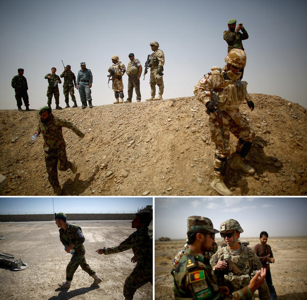 "(Top) Afghan, U.S. and Romanian soldiers on a berm at the Tarnak Training Range, where they are learning to use artillery. (Left) An Afghan soldier runs toward a mortar with a practice ""round"" — a water bottle. (Right) U.S. Army trainer Maj. Kevin McCormick talks with Afghan army 1st Lt. Hayatullah Froton during an artillery training exercise."