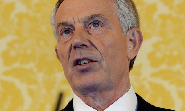 Former British Prime Minister Tony Blair holds a news conference at Admiralty House in London after retired civil servant John Chilcot presented The Iraq Inquiry Report on Wednesday.