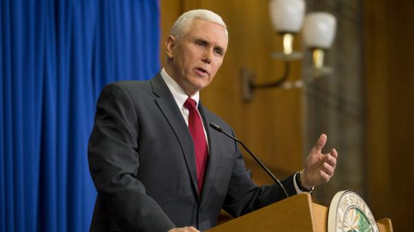Indiana Gov. Mike Pence speaks during a news conference in March 2015.